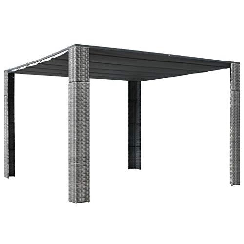 Pavillon mit Dach Poly Rattan 300×300×200 cm Grau Anthrazit