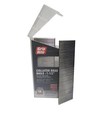 Grip Rite Prime Guard MAXB64877 18-Gauge 304-Stainless Steel Brad Nails in Belt-Clip Box (Pack of 1000), 1-1/2'
