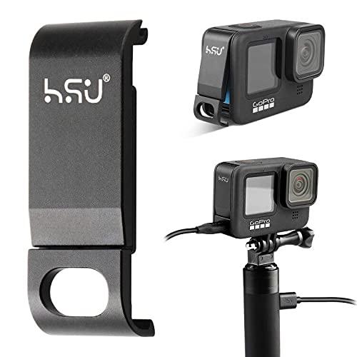 HSU Batteriefachdeckel Abnehmbarer Ladeanschluss Adapter Typ C Aluminiumlegierung Kompatibel mit GoPro Hero 10 und Hero 9