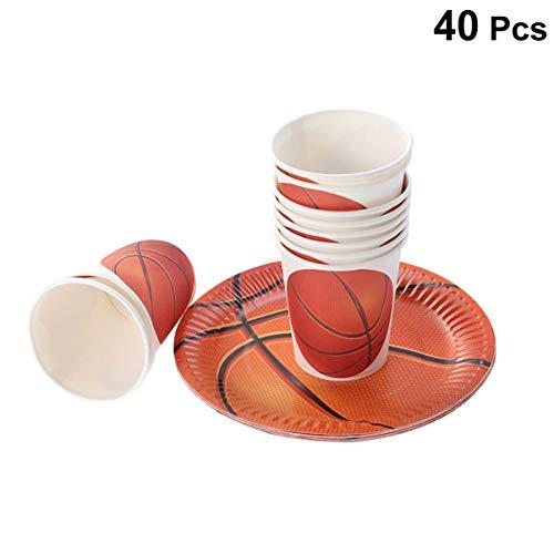 Hemoton 40 STÜCKE Basketball Partei Liefert Pappteller Tassen Set Einweggeschirr für Geburtstag Sammeln Babyparty