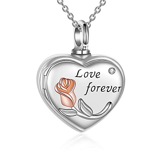 Collar de cremación de plata de ley Love You Forever Rose Flower Urn para cenizas humanas, foto con medallón de memoria, collar y joyas, Plata esterlina,