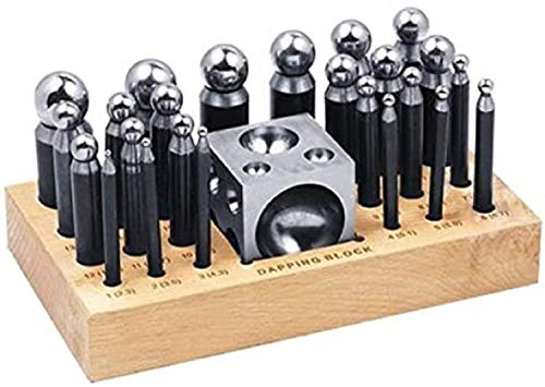 26 Piece Dapping Doming Punch Block Set 2.3 mm to 25 mm Jewelry Making Metal Forming Tool Kit