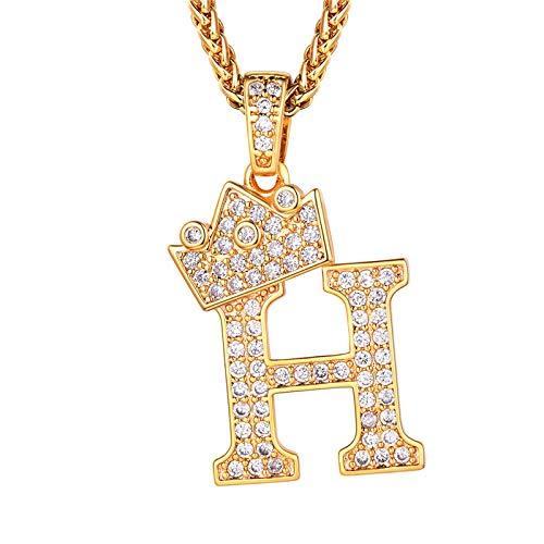 Richsteel 18K Oro baño Colgantes Letras A - Z con Brillantes Diamantes Falsos para Mujeres Hombres, Letras con Corona/Letras Cuadradas, Cadena Ajustable 55cm+5cm, con Caja de Regalo