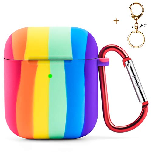 Rykimte Compatible with AirPods Case Rainbow,Shockproof Protective Premium Silicone Cover Skin for AirPods Charging Case 2 & 1