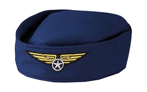 Boland 01356 - Hut Stewardess für Erwachsene, Größe 56, Dunkelblau mit Gold, Flugbegleiterin, Flieger, Beruf, Motto Party, Karneval