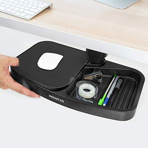 Mount-It! Under Desk Swivel Storage Tray with Mouse Pad | Ergonomic Undermount Shelf Organizer Holds Pens Pencils Paper and Other Office Supplies | Mounts to Desktops Tables and Workbenches