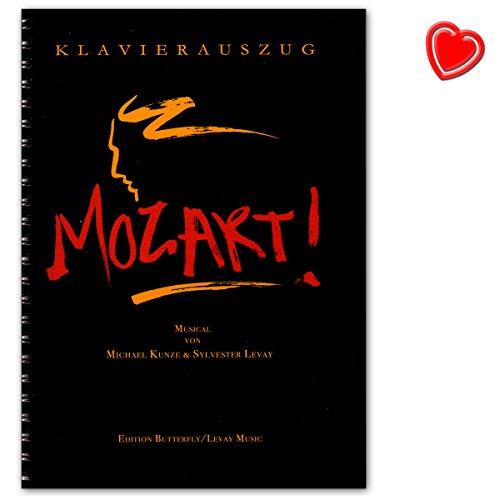 MOZART! Das Musical von Kunze Michael und Sylvester Levay - Klavierauszug - Erscheinungsjahr: 2017 - Notenbuch mit bunter herzförmiger Notenklammer