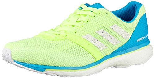 adidas Damen Adizero Adios 4 W Laufschuhe, Gelb (Hi/Res Yellow/FTWR White/Shock Cyan Hi/Res Yellow/FTWR White/Shock Cyan), 41 1/3 EU