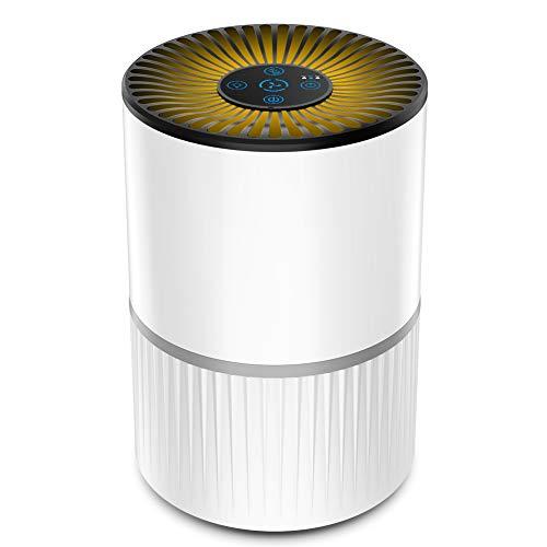 Purificador de Aire Alergia con Filtro HEPA y Carbón Activado, con Filtración de 4 Capas y Función de Temporizador,Aromaterapia, Luz Nocturna y Temporización para Mascotas/Humo/Polvo