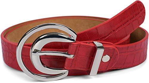 styleBREAKER Damen Gürtel Unifarben mit Oberfläche in Krokodilleder Optik und Halbmond förmiger Schließe, kürzbar 03010108, Farbe:Rot, Größe:100cm
