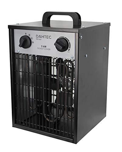 DAHTEC 3000 Watt Elektrischer Heizlüfter mit Thermostat und 2 Heizstufen, Elektro Heizstrahler für Baustelle, Werkstatt, Wohnwagen, Camping, Garage, H3.521 Schwarz
