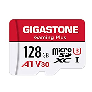 Gigastone 128GB Micro SD Card, Gaming Plus, MicroSDXC Memory Card for Nintendo-Switch, 100MB/s, 4K Video Recording, Action Camera, Wyze, GoPro, Dash Cam, Security Camera, UHS-I A1 U3 V30 Class 10