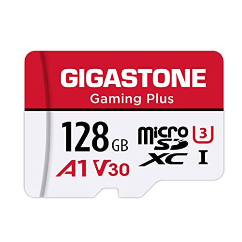 Gigastone Scheda di Memoria Micro SDXC da 128 GB, Gaming Plus Serie, A1 U3, Velocità Fino a 100/50 MB/Sec(R/W) con Adattatore. Specialmente per Telefono, Fotocamere, Videocamera, Tablet, Gopro, Switch