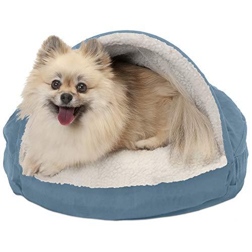 Furhaven Pet Dog Bed | Orthopedic Round Cuddle Nest Faux Sheepskin Snuggery Blanket Burrow Pet Bed...