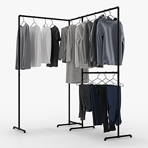 pamo freistehende Kleiderstange im Industrial Loft Design - LAS EDGE - Garderobe für begehbaren Kleiderschrank Wand I Schlafzimmer Kleiderständer aus schwarzen stabilen Rohren - über Eck