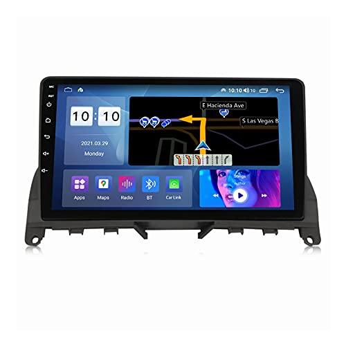 Android 10.0 Car Stereo Sat Nav Radio para B-ENZ Clase C 3 W204 S204 2006-2011 Navegación GPS 2 DIN 9 '' Unidad Principal Reproductor Multimedia MP5 Receptor de Video con 4G FM DSP WiFi SWC Carplay
