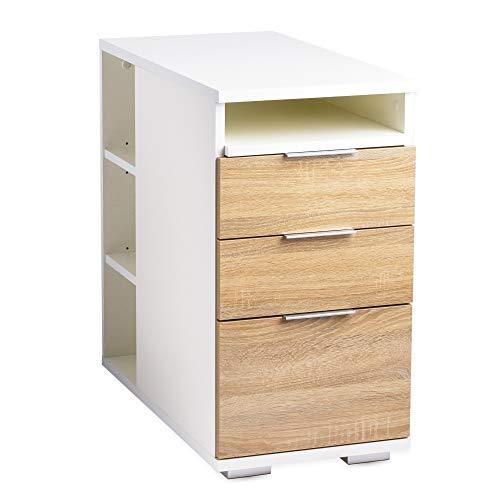 mutatio Bürocontainer Beistelltisch Schubladenschrank mit Schubladen, Regal [Mehr Funtionen] Nachttisch Weiß/Sonoma-Eiche ca. B 40 cm x H 75 cm x T 75 cm   Büro Möbel Zubehör