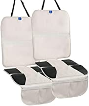 Funbliss Car Seat Protectors ,The Thickest Padding to Protect Leather and Fabric Upholstery - Waterproof 600D Fabric and Dirt Resistant-PVC Leather Reinforced Corner and 2 Mesh Pouch (2 Pack) Beige