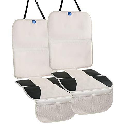Kindersitzunterlage ISOFIX geeignet, Autositzauflage Autositzunterlage Autositzschoner Autositzschutz für kindersitz wasserabweisend, universal für Textil- und Ledersitze, 2 Stücke, Beig