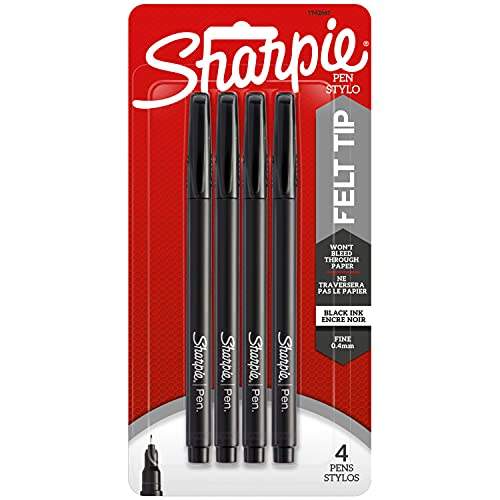 Sharpie Plastic Point Stick Permanent Water Resistant Pen, Black Ink, Fine, 4 per Pack