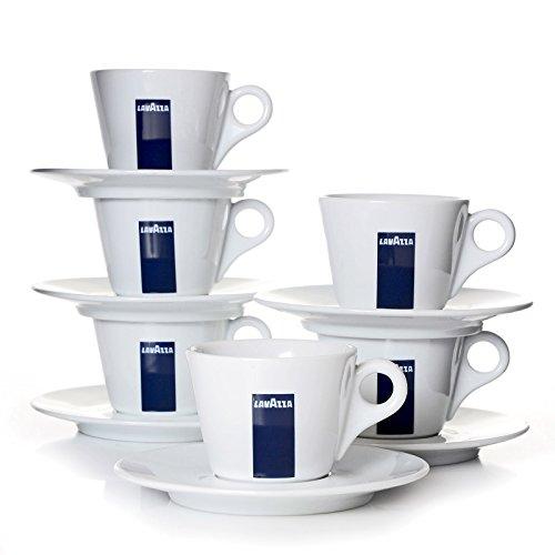 Lavazza - Taza de café con Plato (Juego de 6 Tazas y platillos)