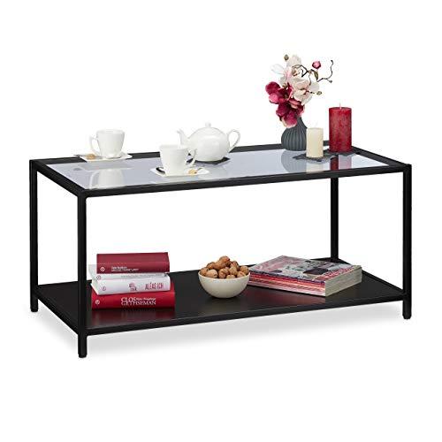 Relaxdays salontafel, glasplaat & metalen frame, plank van MDF, moderne woonkamertafel, HBT 45x100x50 cm, zwart, metaal, glas, 45 x 100 x 50 cm