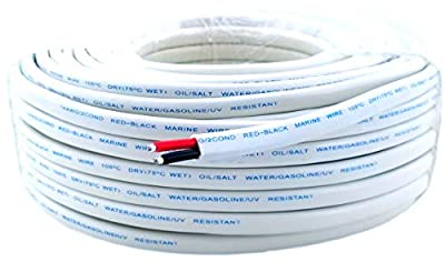 14 Gauge (American Wire Ga) Tinned Oxygen Free Copper Red Black Duplex Sheathed Marine Boat Wire. | Cable Length: 50 FT (Also Available in 100 FT roll) by GS Power