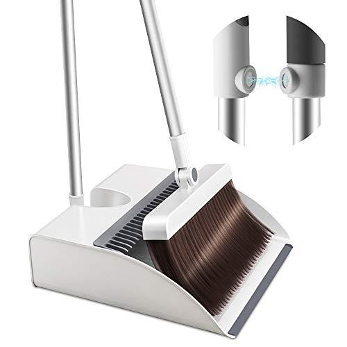 Manfore - Set di scopa e paletta verticale con manico lungo, magneti e denti in lamiera, pala con chiusura automatica e testa della scopa regolabile a 360°, per cucina, ufficio, angolo sottile