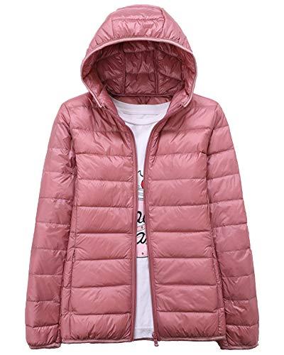 Daunenjacke Damen Ultra Leicht Steppjacke Daunenmantel Winter Mantel Übergangsjacke mit Kapuze Rosa M