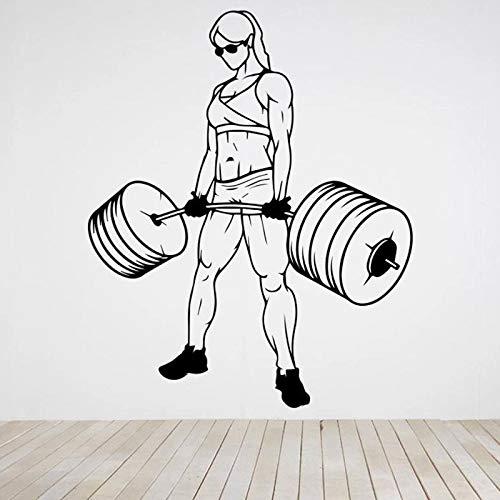 Bodybuilder tatuajes de pared gimnasio fitness ejercicio mujer musculosa con barra pegatinas de pared gimnasio interior decoración de la pared calcomanías de arte de vinilo