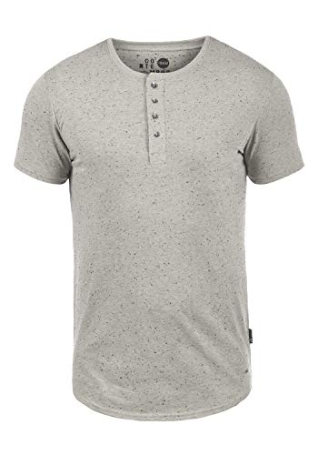 !Solid Thai Herren T-Shirt Kurzarm Shirt Mit Grandad-Ausschnitt, Größe:XXL, Farbe:Light Grey (2325)