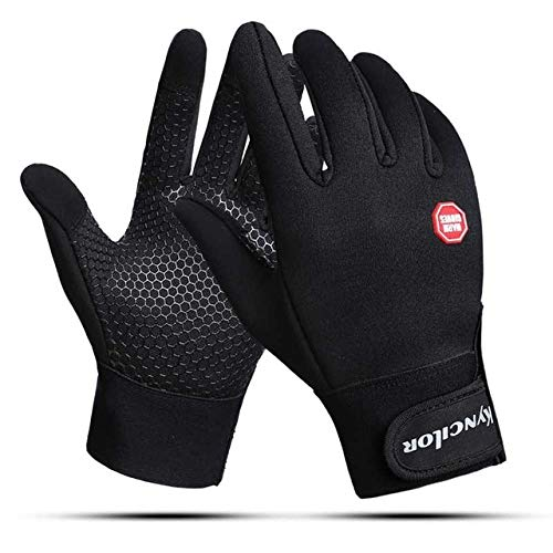 Gants de vélo d'hiver Full Finger Touch Screen Gants de vélo Coupe-Vent Sport VTT Road Warmer Gants de vélo - Noir, XL
