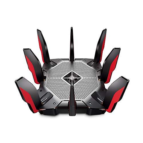 TP-Link Archer AX11000 Wi-Fi 6 Triband WLAN Gaming Router (10,76 Gbit/s auf 2x5GHz und 2.4Ghz, 8 × Gigabit LAN-Ports, 2 × USB 3.0 auf Type A und Type C, HomeCare, Schnellinstallation)schwarz, rot