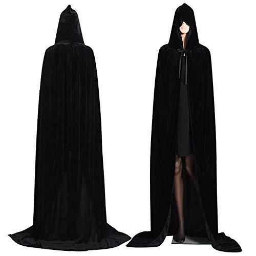 Largo Capa con Capucha,Capas de Halloween,Unisex Adulto Terciopelo Disfraz de Halloween Halloween Fiesta Vampiro Bruja Traje (L, Negro)