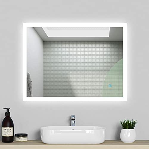 Acezanble Specchio da bagno a LED, 80 x 60 cm, con illuminazione, luce bianca fredda, specchio da...