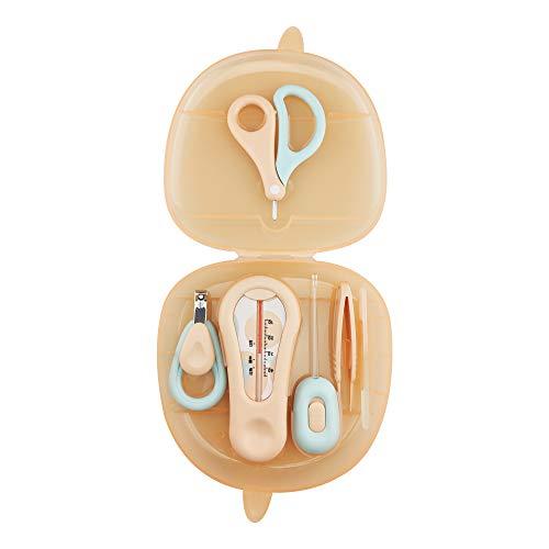ARRNEWベビーネイルキット、ベビーネイルケアセット6-In-1、ベビーネイルクリッパー、はさみ、ネイルファイル、ピンセット、水温計、耳かき、新生児、乳児、幼児用のLEDネイルキット付き、かわいいケース (ピンク)