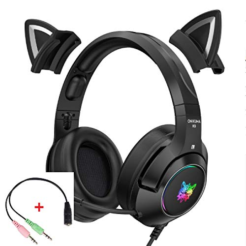 Wireless Over Ear Bluetooth Headphones Professional K9 Gamer Headset Black for Cat Ear Cute Stereo Earphones Ergonomic Design Wired Headset With Microphone RGB Gaming Wireless Over Ear Bluetooth Headp