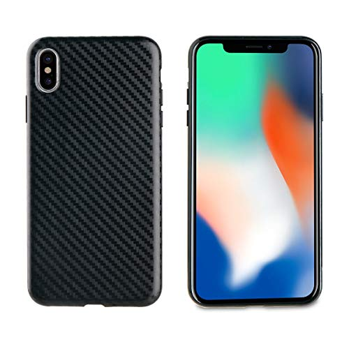 Muvit Cristal Soft - Funda para Apple iPhone XS MAX (Fibra Carbono) Color Negro