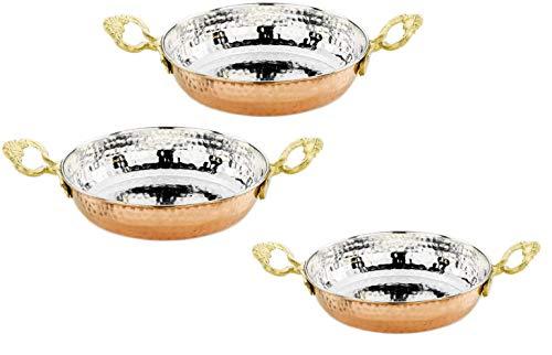 CasaXXl 3er Set Kupferpfanne türkisch aus massivem Kupfer - traditionelle Eierpfanne im Pfannen Set mit 14 cm, 16 cm & 18 cm Durchmesser