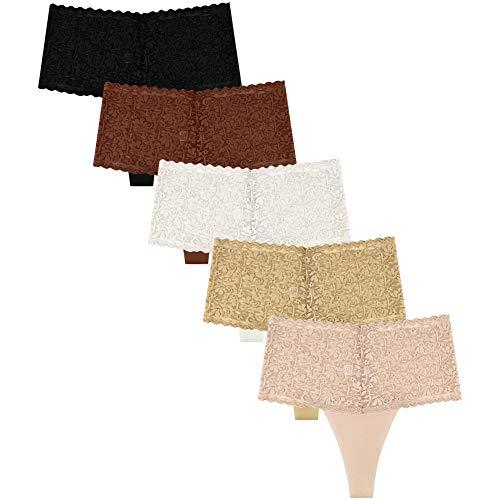 Natural Feelings Underwear for Women High Waist Thongs Seamless Lace...