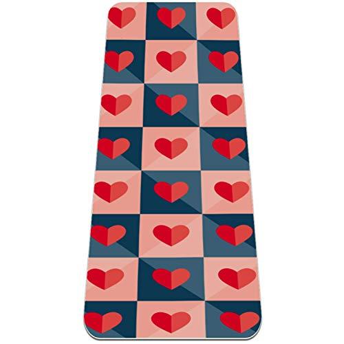 Eslifey Alfombra de yoga gruesa con corazones de papel, antideslizante, para mujeres y niñas, tapete de ejercicio suave, (183 x 60 cm, 1/4 pulgadas de grosor)