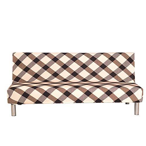 Copridivano senza braccioli con stampa a quadri vintage per divano e divano a 3 posti, elastico e pieghevole, adatto per divano letto pieghevole senza braccioli, 203 x 127 cm