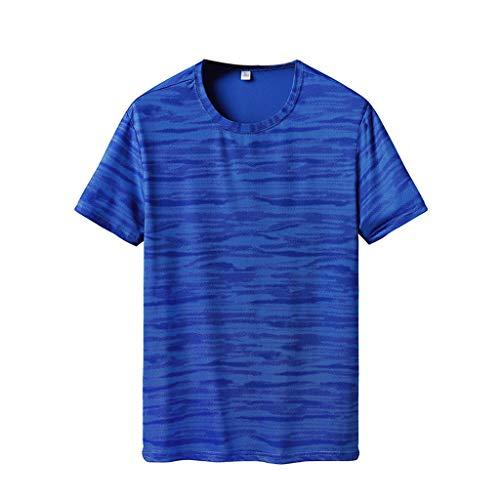 UINGKID Herren T-Shirt Slim-Fit Easy Business Kurzarm UnterhemdMens-Sommer-beiläufiges Druck-T-Shirt Fitness-Sport-schnell trockene atmungsaktive Spitzenbluse