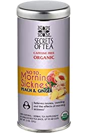 Secrets Of Tea       Secrets Of Tea No To Morning Sickness Nausea Relief Pregnancy Tea for Pregnant Women - Natural USDA Organic Caffeine-Free Tea for Morning Sickness Relief Peach and Ginger Flavor - 40 Servings           4.1 out of 5 stars     26        $13.88$13.88($0.69/Count)Join Prime to save $2.00 on this item                 FREE Shipping over $25 by Amazon