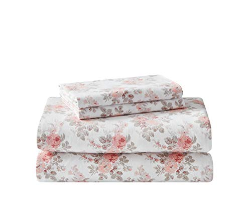 Laura Ashley Home | Flannel Collection Cotton Bedding Sheet Set, Pre-Shrunk & Brushed for Extra Softness, Comfort, and Cozy Feel, Queen, Lisalee Pink
