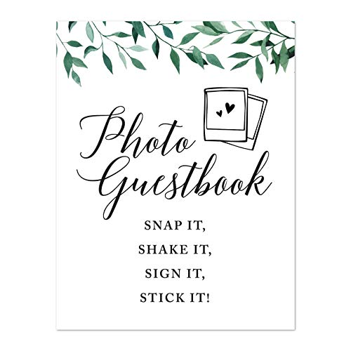 Andaz Press Wedding Party Signs, Natural Greenery Green Leaves, 8.5x11-inch, Photo Guestbook Snap It, Shake It, Sign It, Stick It, Polaroid Sign 1-Pack