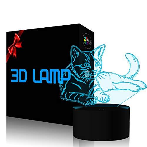 Lovely Chat 3D Lumière de Nuit LED Lampe Illusion Veilleuse Optique Tactile Interrupteur 7 Couleurs avec Câble USB Animal Lampe de Bureau Déco pour Chambre Enfants Jouet Cadeau