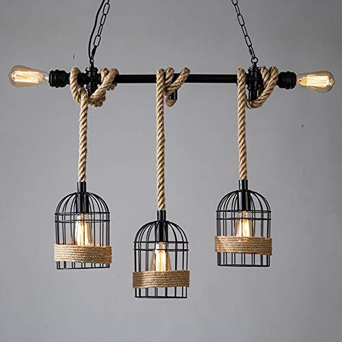Lámpara LED rústica de cuerda de cáñamo de hierro, lámpara colgante retro Cafe creativa jaula de pájaros, bar, contador de ventana, tienda, decoración, bombilla Edison E27