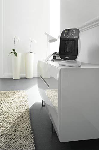 De'Longhi Bend Line, Ceramic Fan Heater 2kw, Room Thermastat, 24hr Timer, Digital Control Panel, Anti Frost Frunction, Oscillating base, Auto-Off, For Rooms up to 60m3, HFX60V20, Black and White
