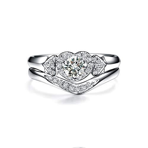 Beydodo Trauringe Echt Weißgold 750, Hochzeit Ring Weißgold Stapel Ring mit Diamant 0.19ct Verlobungsring Große 52 (16.6)